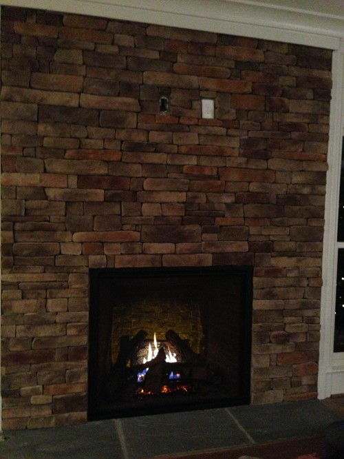 Tv above fireplace without a mantle help for Fireplace no mantle