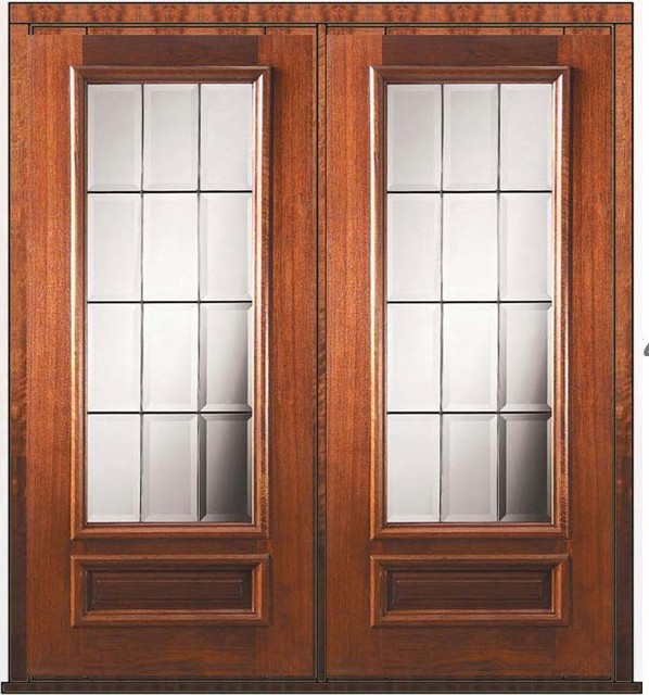Prehung french double door 80 mahogany french 1 panel 3 4 for All glass french doors