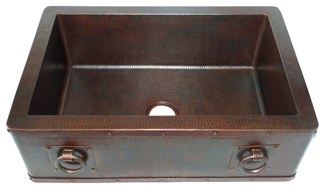 Straight Apron Front Kitchen Copper Sink With Rings Undermount Single Basin W Rustic