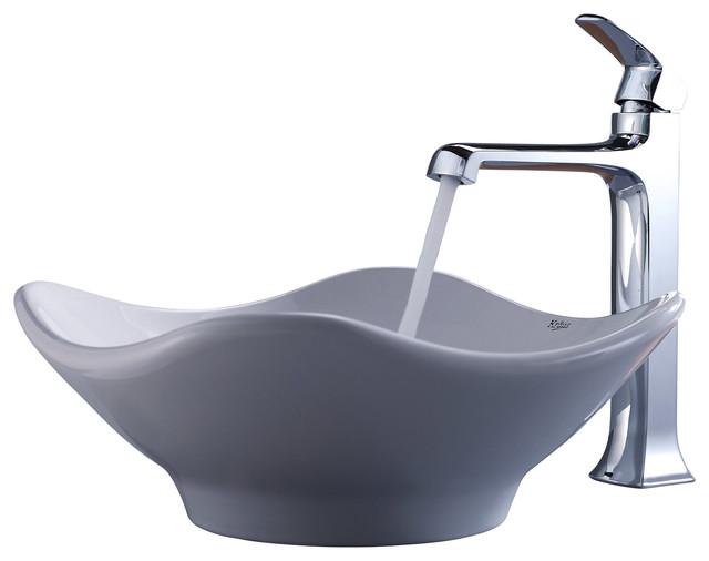 Kraus Sinks Uk : Kraus White Tulip Ceramic Sink and Decorum Faucet Chrome - Modern ...
