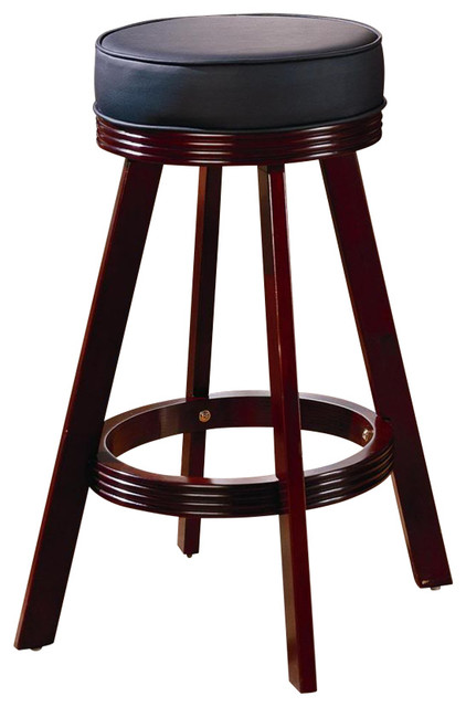 Mitchell Upholsted Bar Stool In Cherry Finish By Coaster