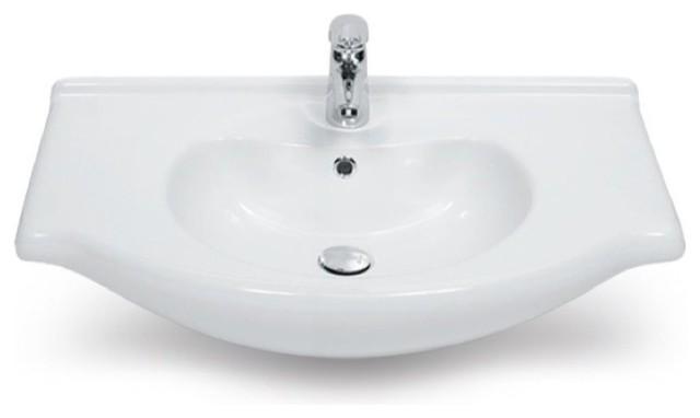 Curved Bathroom Sink : 22 Inch Curved Ceramic Bathroom Sink - Contemporary - Bathroom Sinks ...