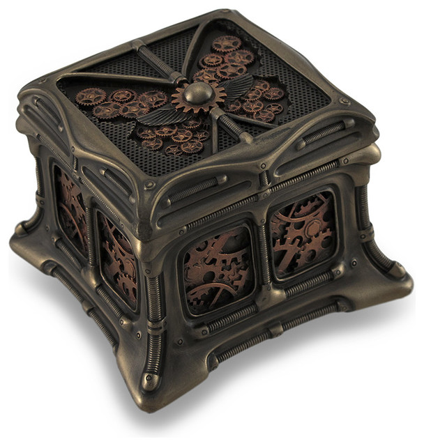 Steampunk Butterfly Bronze Finish Trinket Box Stash Box
