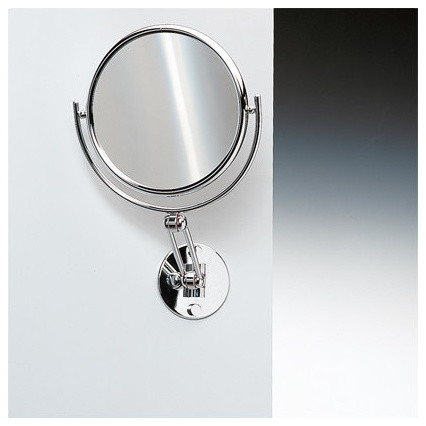 55quot extendable double face wall mounted 5x magnifying for Wall mounted extendable mirror bathroom