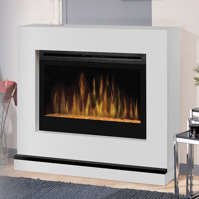 Atlantis white wall or corner electric fireplace with logs for Indoor corner fireplace