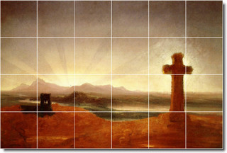 Thomas cole religious painting ceramic tile mural 106 48 for Crossing the shallows tile mural