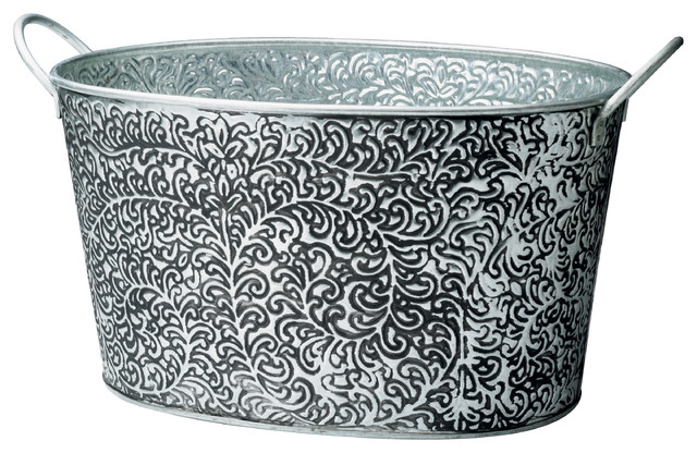 Antiqued 'Vine Relief' Oval Metal Party Tub - Contemporary - Ice Tools And Buckets - by ...