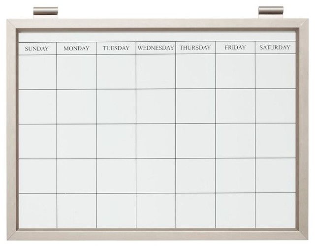 Magnetic White Board Calendar Stainless Steel Finish