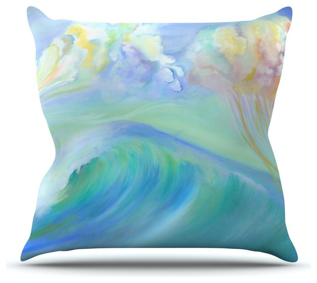 "Theresa Giolzetti ""Jelly Fish"" Blue Teal Throw Pillow - Contemporary - Decorative Pillows - by ..."