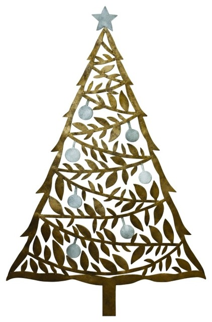 Elegant 36 gold tree holiday card holder metal wall art for Christmas card holder wall hanging