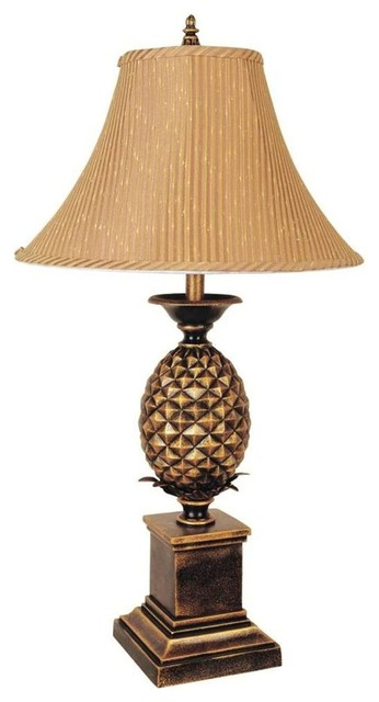 pineapple table lamp w bell shape shade in an contemporary table lamps. Black Bedroom Furniture Sets. Home Design Ideas