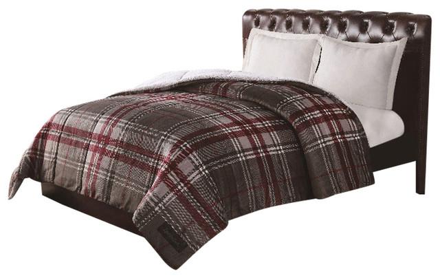 Remington ultra velvet grey plaid comforter traditional for Grey velvet comforter