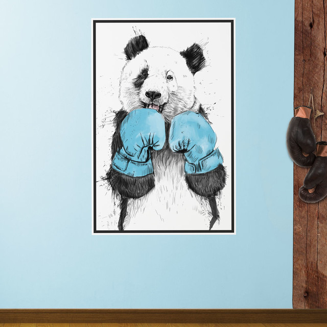 Boxing Panda Bear Wall Decal The Winner By Balazs Solti