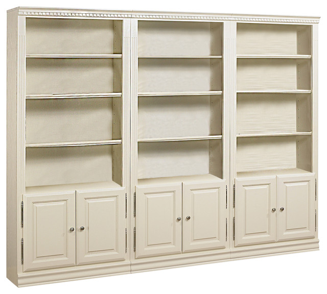 "Hampton Tall 3-Piece Bookcase With Doors, 84"" - Traditional - Bookcases - by Bebe Furniture"