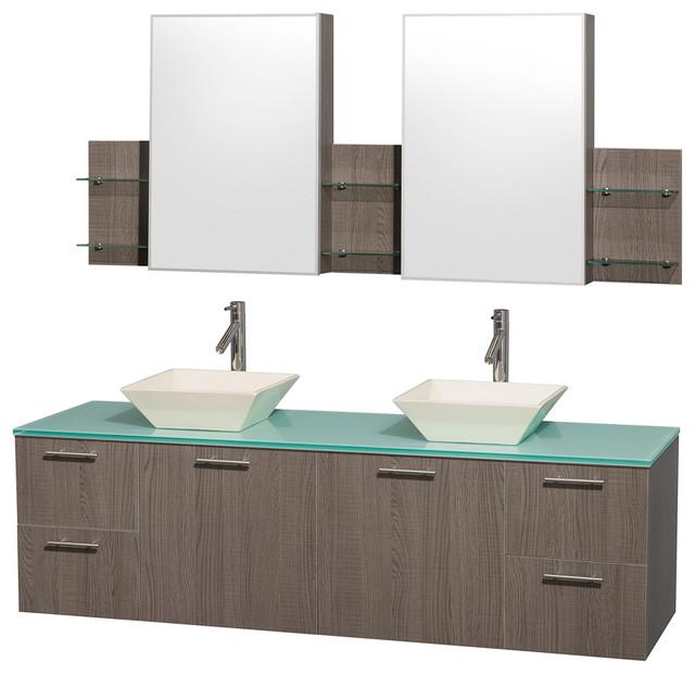 Amare 72 grey oak double sink vanity with green glass top - Muebles de lavabo ...