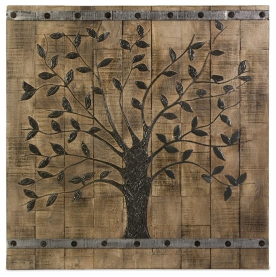 Rustic Tree Of Life Wood Wall Panel Mixed Media