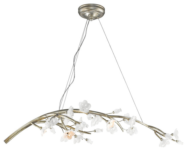 Aiyana Seven Light Chandelier In Silver Leaf With Opal Glass Flowers Chandeliers By Golden Lighting