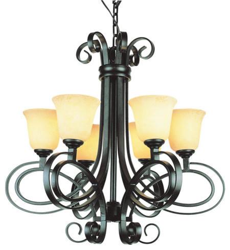 Trans Globe Lighting Six Dbz Chandelier In Dark Bronze