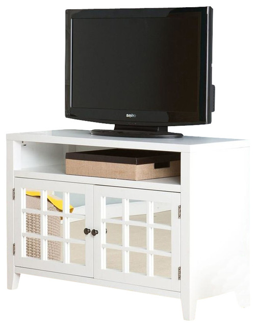 Carter Mirrored Tv Media Stand In White Contemporary
