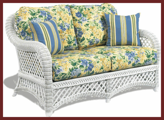 White Wicker Loveseat Lanai Style Traditional Patio