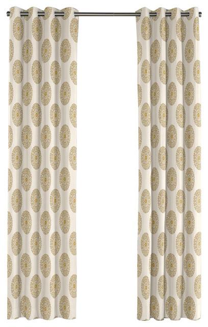 Lime Green Medallion Grommet Curtain Mediterranean Curtains By Loom Decor