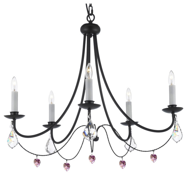 Empress Crystal Wrought Iron Plug In Chandelier Contemporary Chandeliers By Gallery