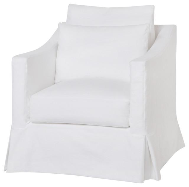 Rebecca Denim White Coastal Style Slip Accent Chair With
