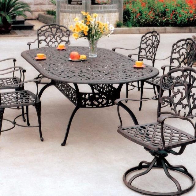darlee catalina 6 person cast aluminum patio dining set