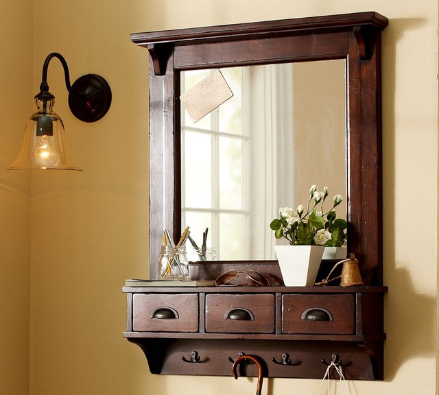 Wall Mount Entryway Organizer Mirror Traditional