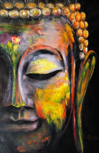Colorful buddha oil painting asian paintings by noa 39 s a - Peinture sur toile bouddha ...