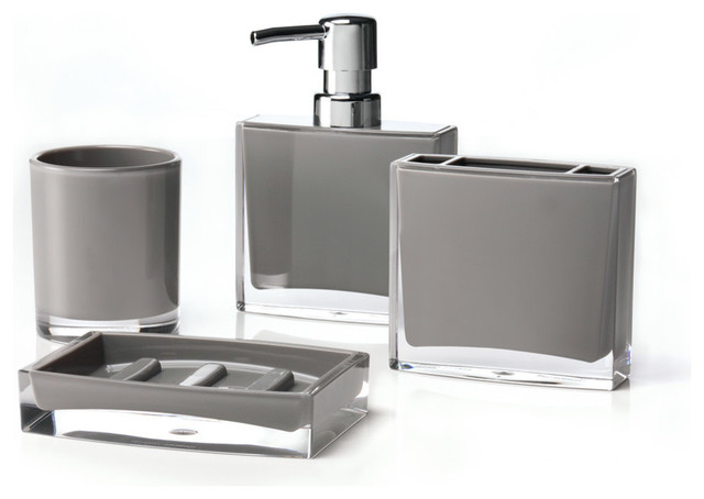 Iced 4 piece bathroom accessory set gray bathroom for Grey bathroom accessories set
