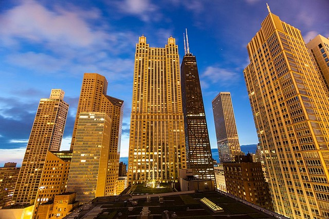 Chicago skyscrapers wallpaper wall mural self adhesive for Chicago wall mural