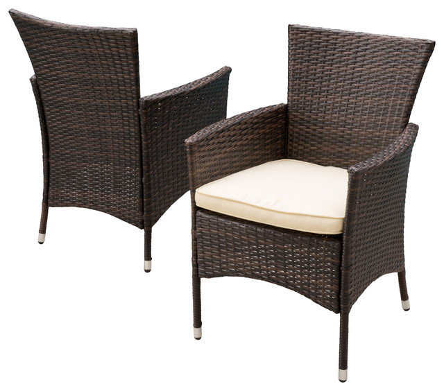 Contemporary Outdoor Dining Furniture: Clementine Outdoor Multibrown Pe Wicker Dining Chairs, Set