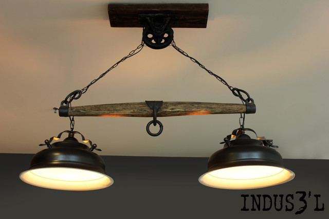 rustic chic yoke lamp pulley rustic pendant lighting by unique wood iron. Black Bedroom Furniture Sets. Home Design Ideas