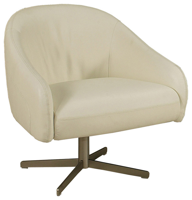 Dawsonville White Leather Club Chair - Contemporary ...