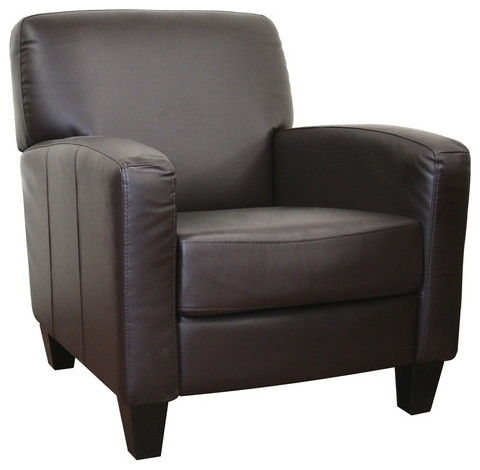 Stacie Brown Leather Modern Club Chair By Baxton Studio Modern Armchair