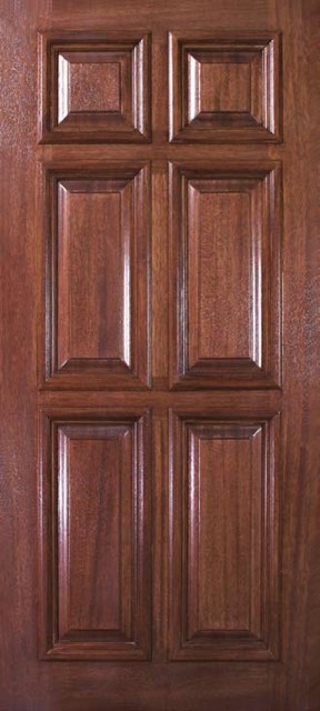 Slab External Single Door 80 Wood Mahogany 6 Panel Solid