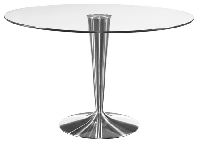Mirror Concorde Round Glass Dining Table W Chrome Base Dining Tables