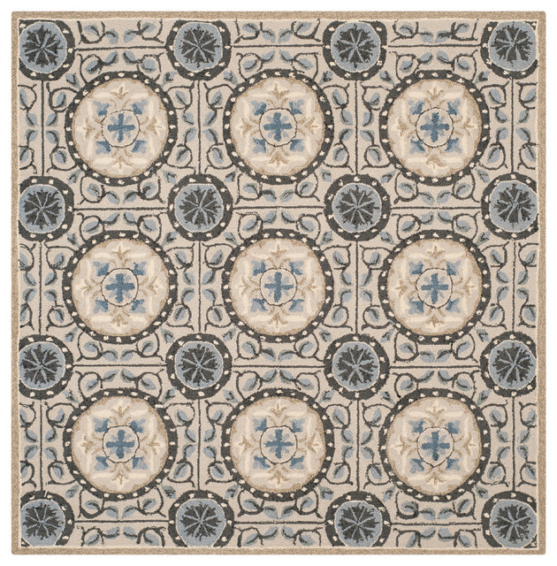 Safavieh Elba Rug Cement and Blue 6 x6 Square outdoor rugs