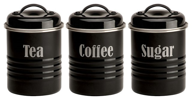 Typhoon vintage black tea coffee and sugar canister set modern tea coffee making - Modern tea and coffee canisters ...