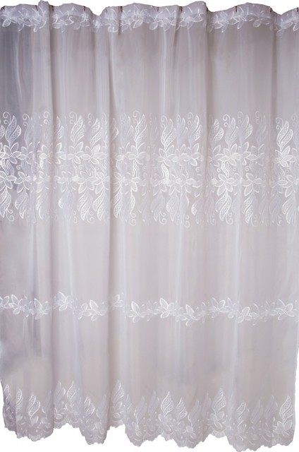 lace shower curtain victorian floral embroidered 72x72 traditional