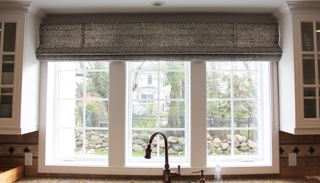 Rooms featuring custom window treatments by lynn chalk for Roman shades for wide windows