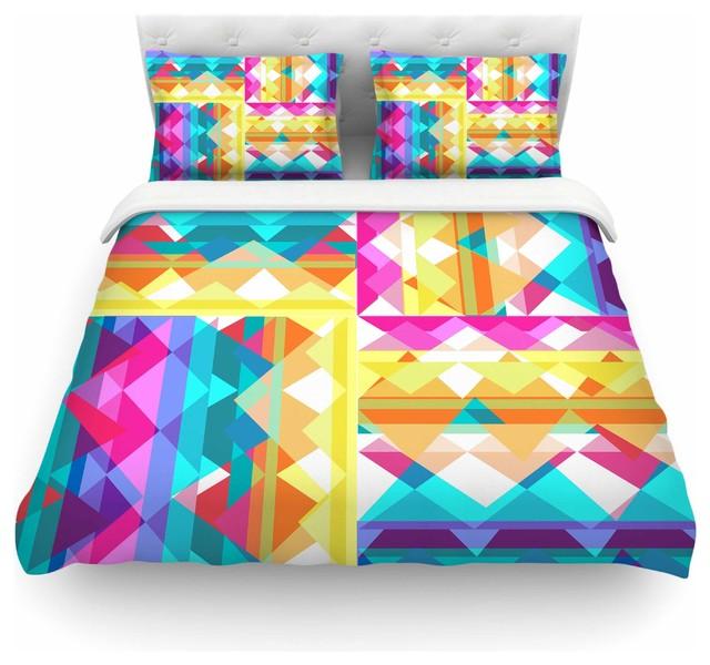 Miranda Mol Quot Triangle Checker Quot Pastel Rainbow Duvet Cover