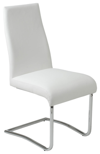Rooney low back side chair set of 2 white leatherette for Modern low back dining chairs