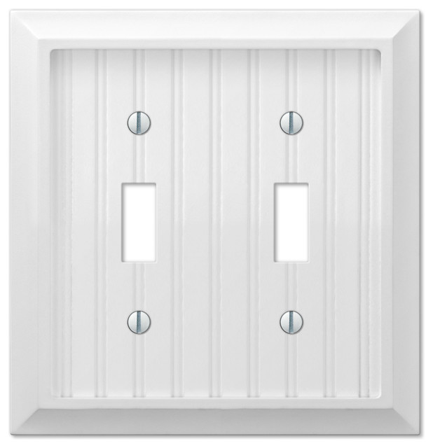 Cottage White Composite Wood 2 Toggle Wall Plate