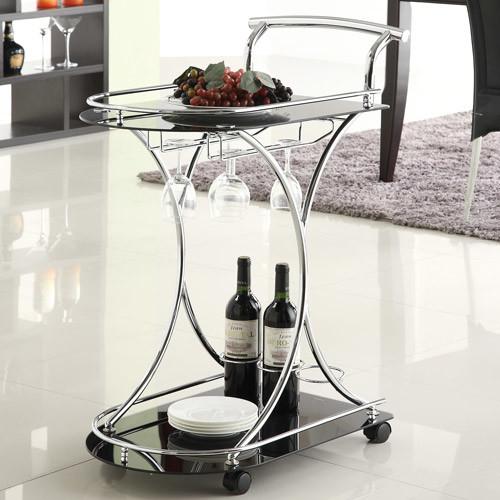 Coaster Contemporary Serving Cart Black Chrome