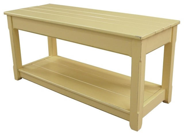 Yellow Resin Hardwood Bench Beach Style Accent And Storage Benches