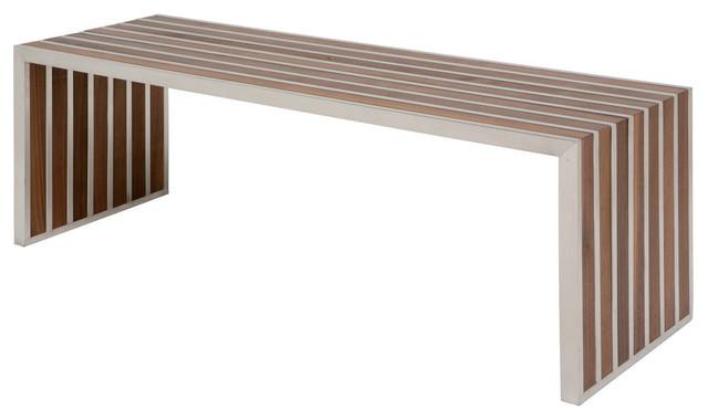 Holden Stainless Steel Walnut Wood Slatted Modern Bench ...