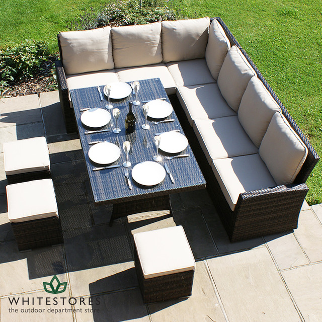 maze rattan kingston corner sofa dining set brown contemporary outdoor dining sets by. Black Bedroom Furniture Sets. Home Design Ideas