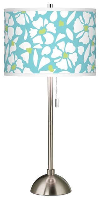 Floral Fun Giclee Brushed Steel Table Lamp Beach Style